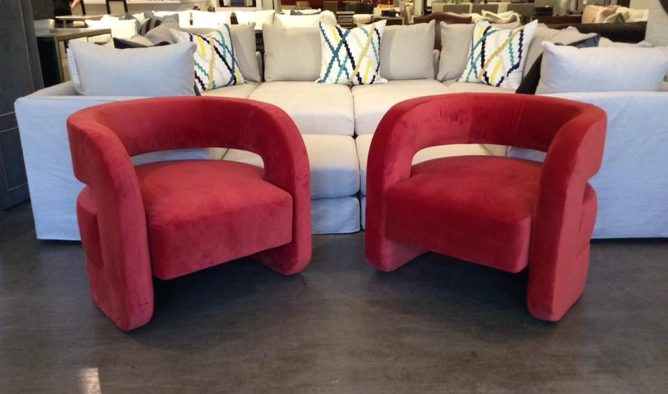 Mitchell Gold + Bob Williams Factory Outlet Chairs In Vivid Vermillion  Kirby 2