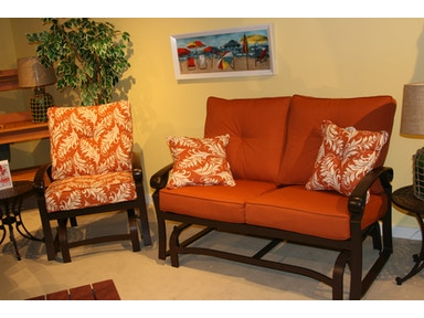 Outdoor Furniture by Amish Oak and Cherry includes: 2 Glider Lounge Chairs, 1 Glider and 2 End Tables Monterey Collection