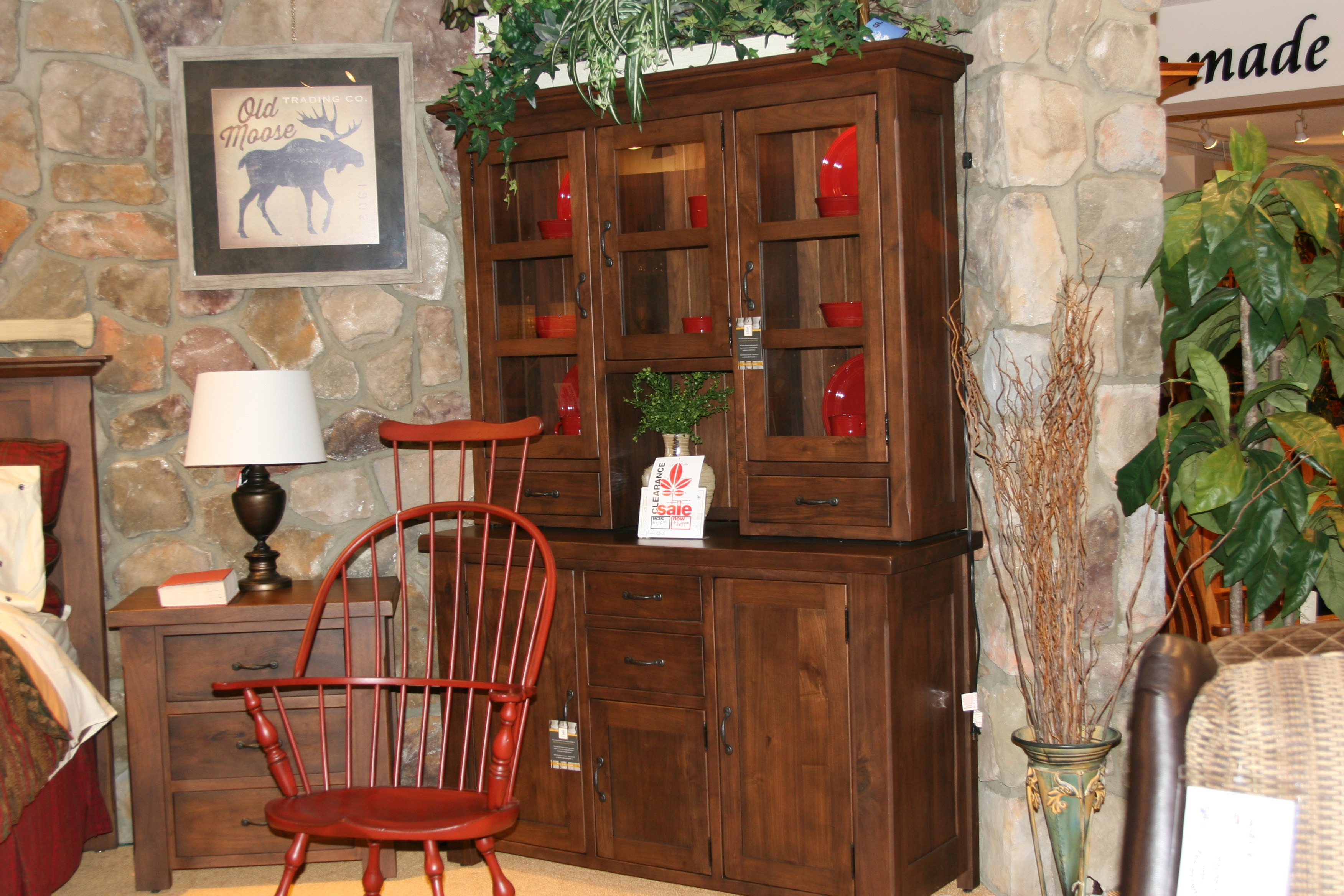 Amish Oak And Cherry Rustic Walnut Hutch New River