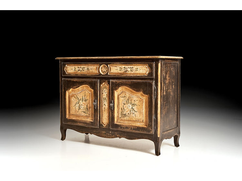 David Michael Furniture Living Room Credenza With Hand Painted Decorations Pm 4126 Hickory