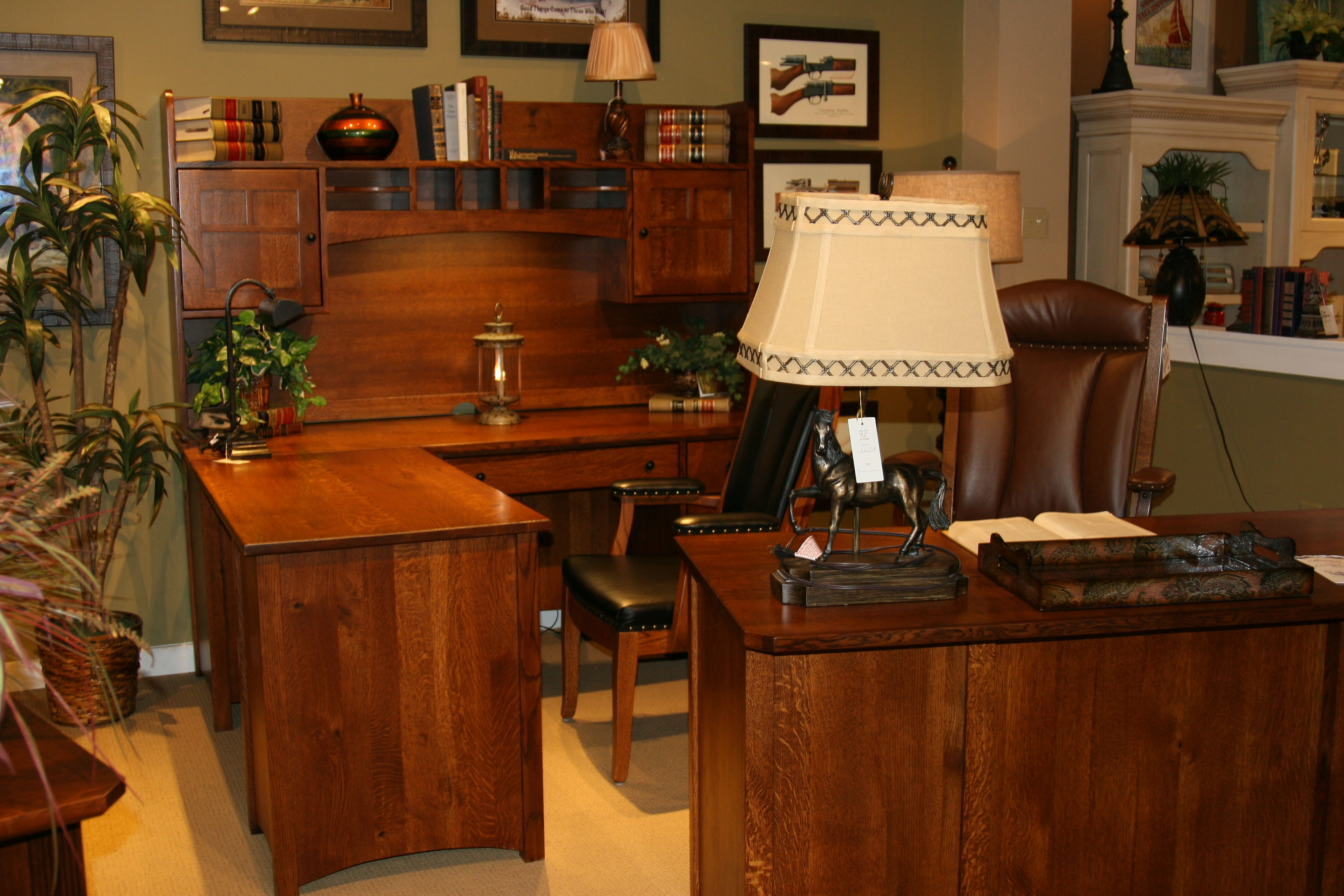 Amish Oak And Cherry Rustic Executive Desk Riverside Home Office