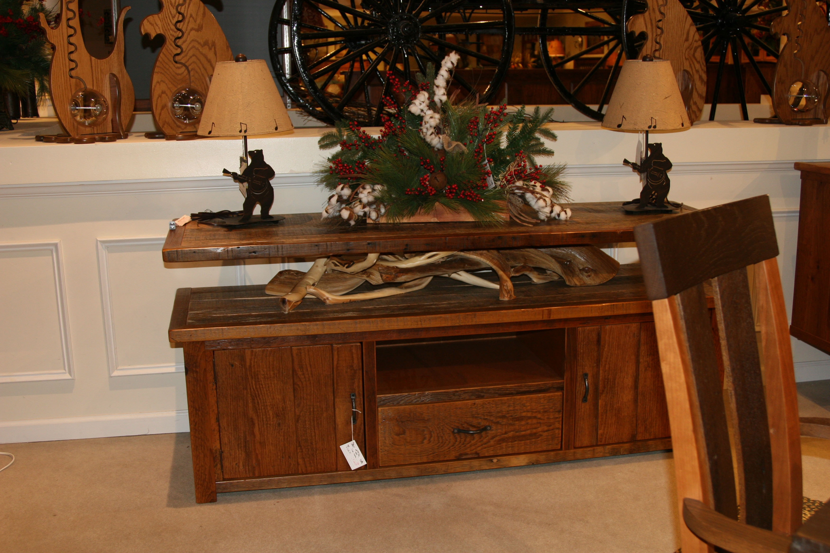 Amish Oak And Cherry Console Silver