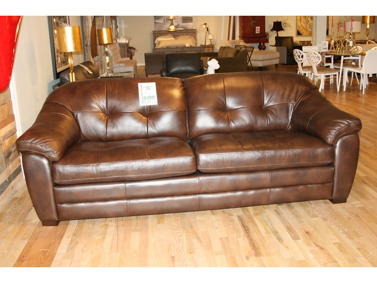Reflections Furniture Outlet Leather Tufted Back Sofa 5