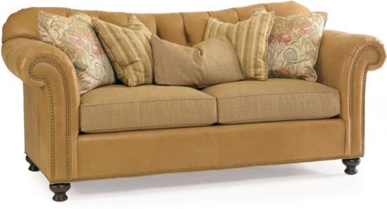 V228 48. Leather And Fabric Sofa