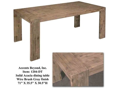 Accents Beyond Furniture Dining Room Solid Acacia Dining Table