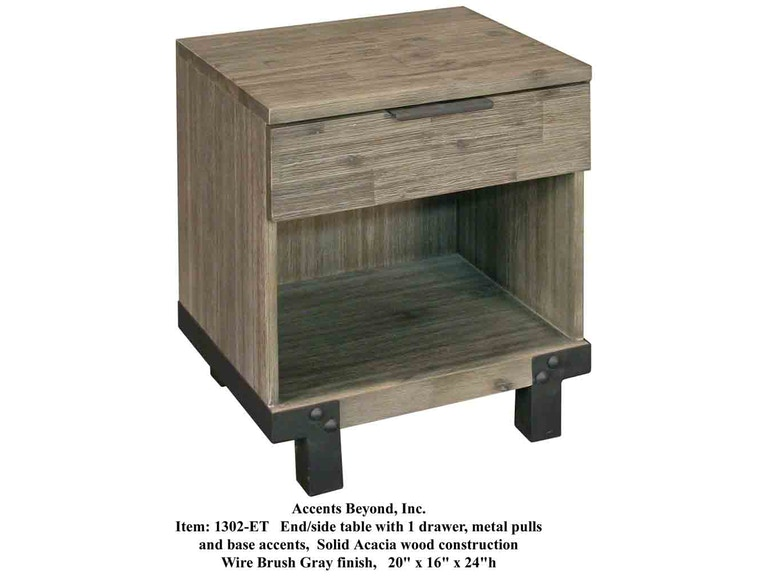 Accents Beyond Furniture Solid Acacia End Table 1302-ET