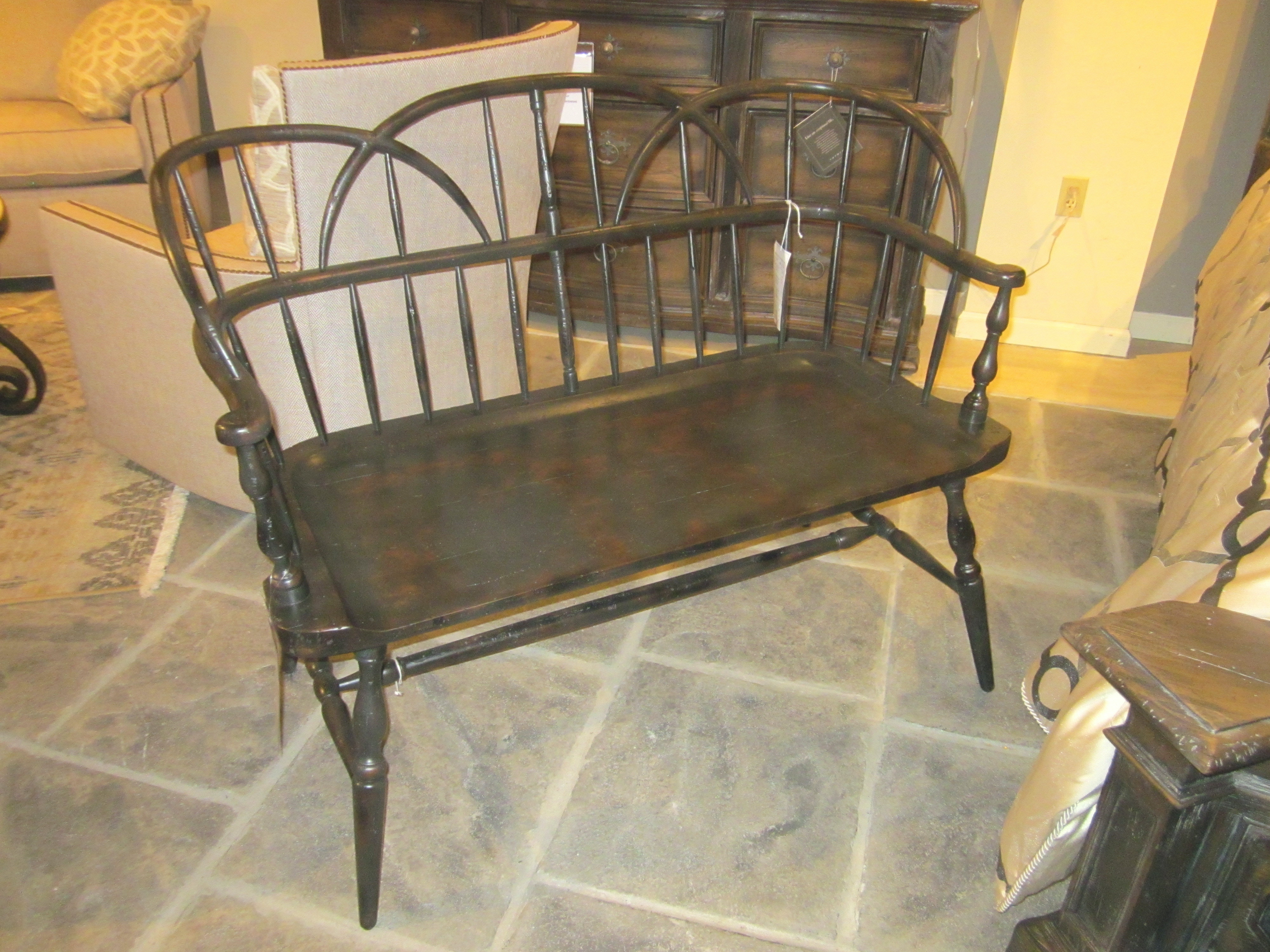 Theodore Alexander Furniture Painted Hoop Back Rustic Bench AM45001  Clearance