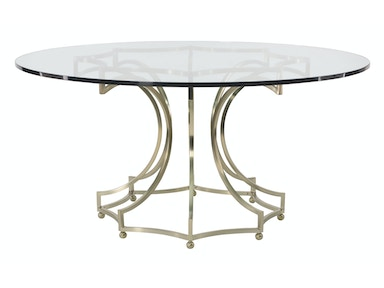 Bernhardt Furniture Miramont Round Dining Table Glass Top with Metal Base 360-773/998-E60