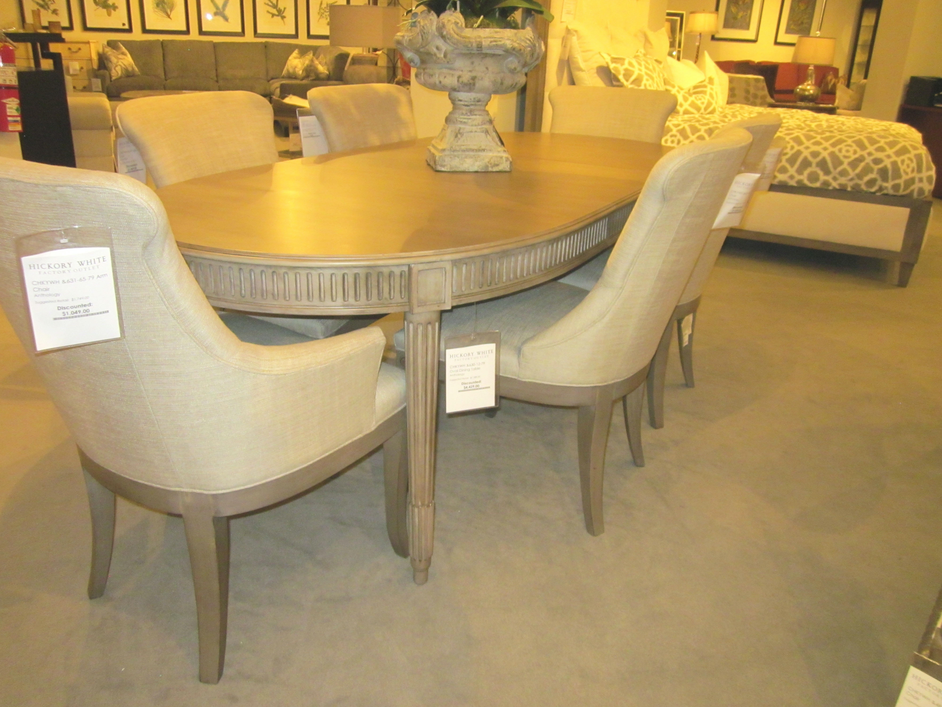 Hickory White Furniture 7 Piece Dining Set Anthology Dining Group,  Anthology Oval Dining Table