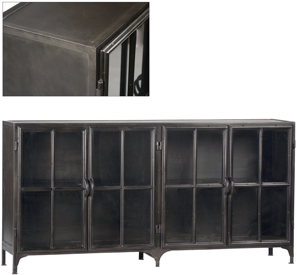Dovetail furniture ai162 dining room york metal sideboard for Dovetail furniture
