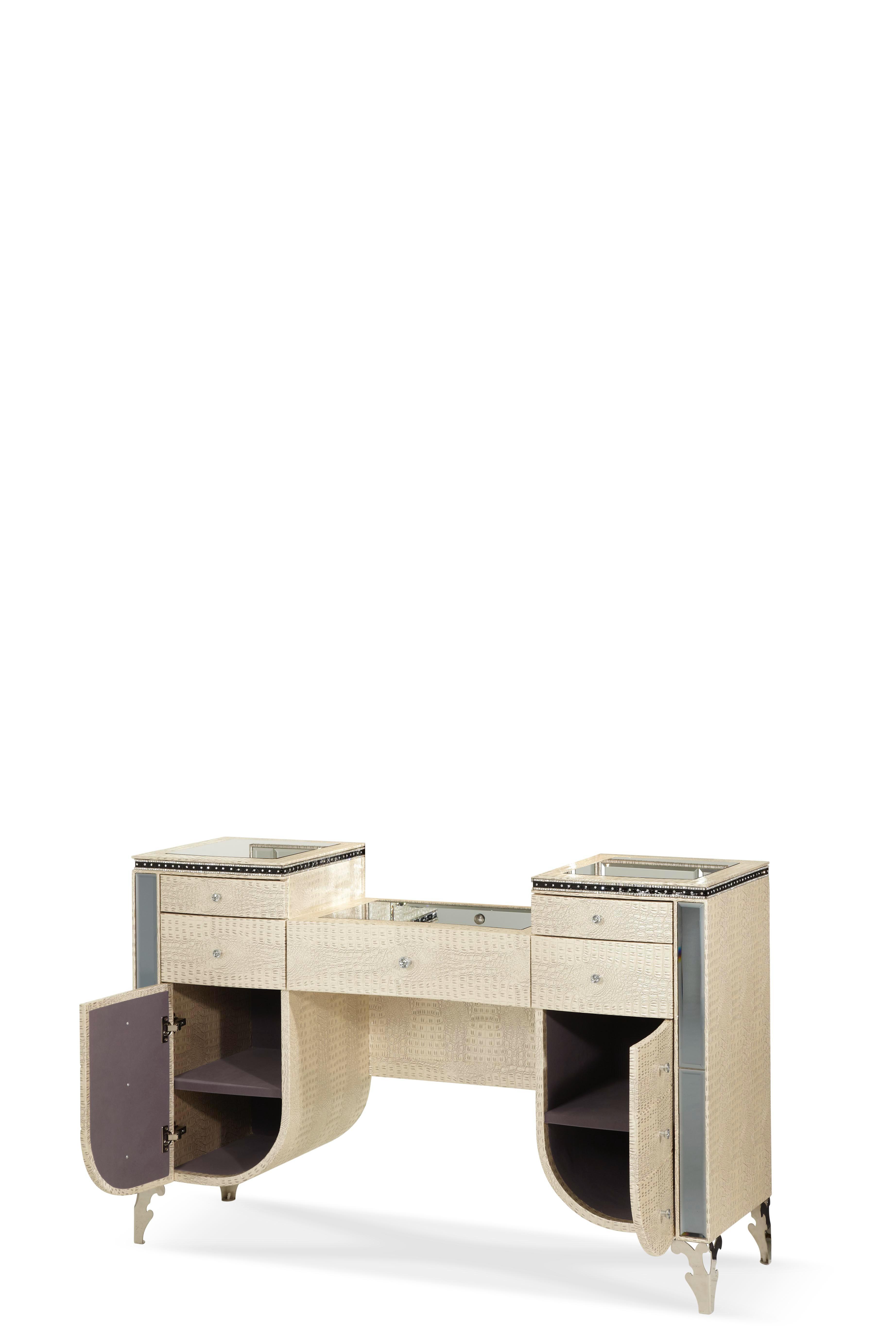 Beau Aico Furniture Hollywood Swank Upholstered Vanity Crystal Croc 03058 09
