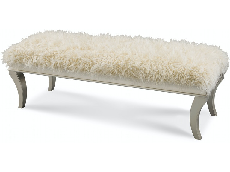 Aico Furniture Hollywood Swank Bed Bench with Faux Sheepskin- K/D 03904FN-05