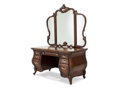 Aico Furniture Vanity Desk and Glass Top and Mirror 09000VAN3-229