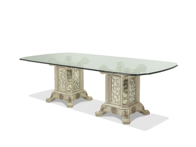 Aico Furniture 102 Rectangular Glass Table with 2 Bases 09001RE102GL-201