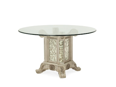 Aico Furniture 54 Round Glass Top with Table Base 09001RNDGL54-201