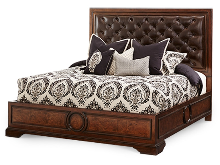 Aico Furniture Queen Panel Bed with Leather Tufted Headboard 38000QNPN2L-45