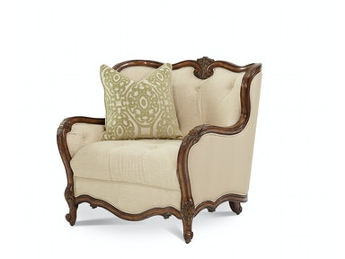 Aico Furniture Living Room Wood Trim Chair and a Half