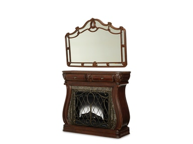 Aico Furniture Bedroom Electric Fireplace and Wall Mirror