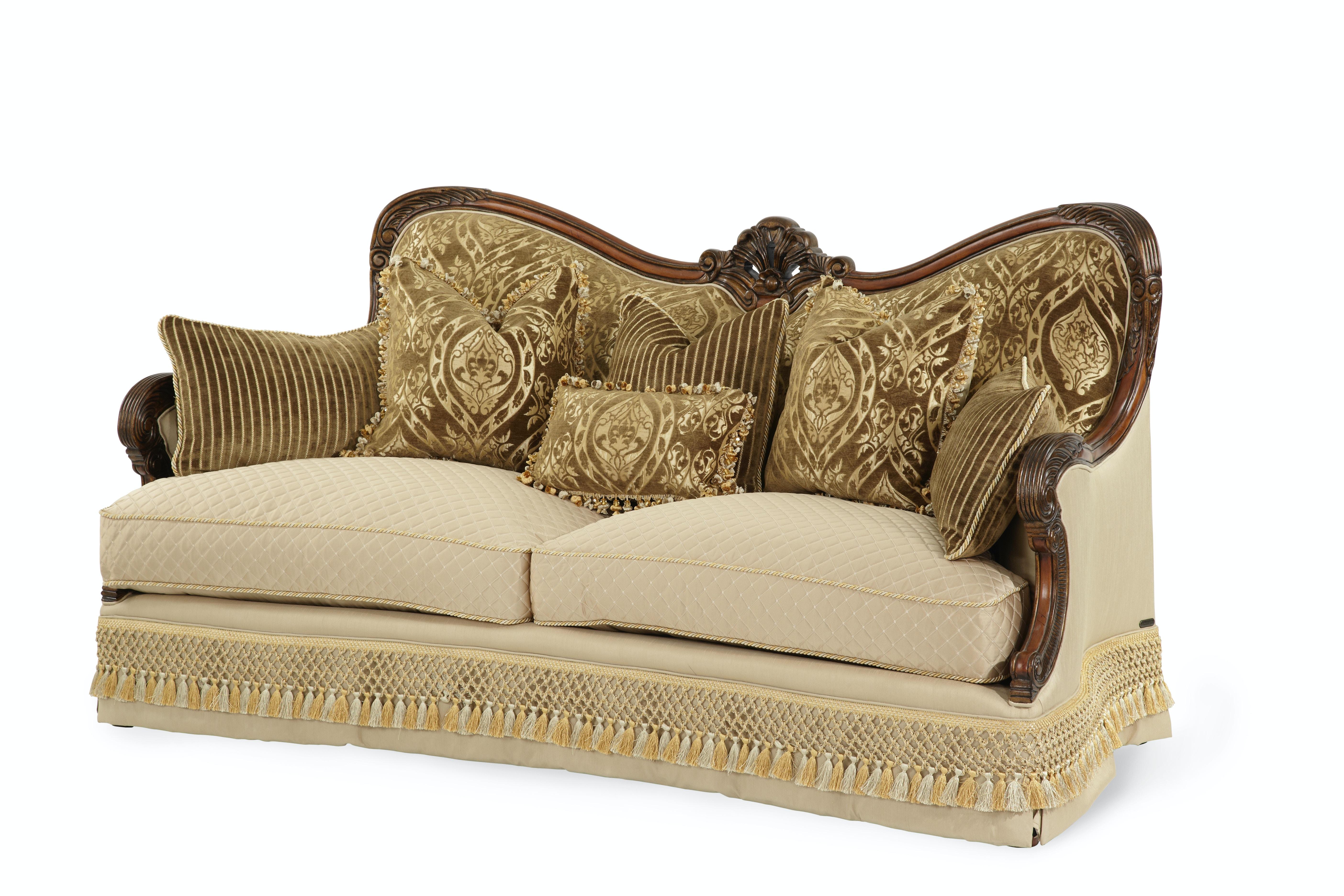 aico furniture chateau beauvais op1 wood trim sofa