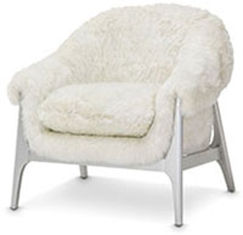Aico Furniture 9011834 Foxfr 05 Glimmer Heights Chair With Faux Fox Fur Glimmering