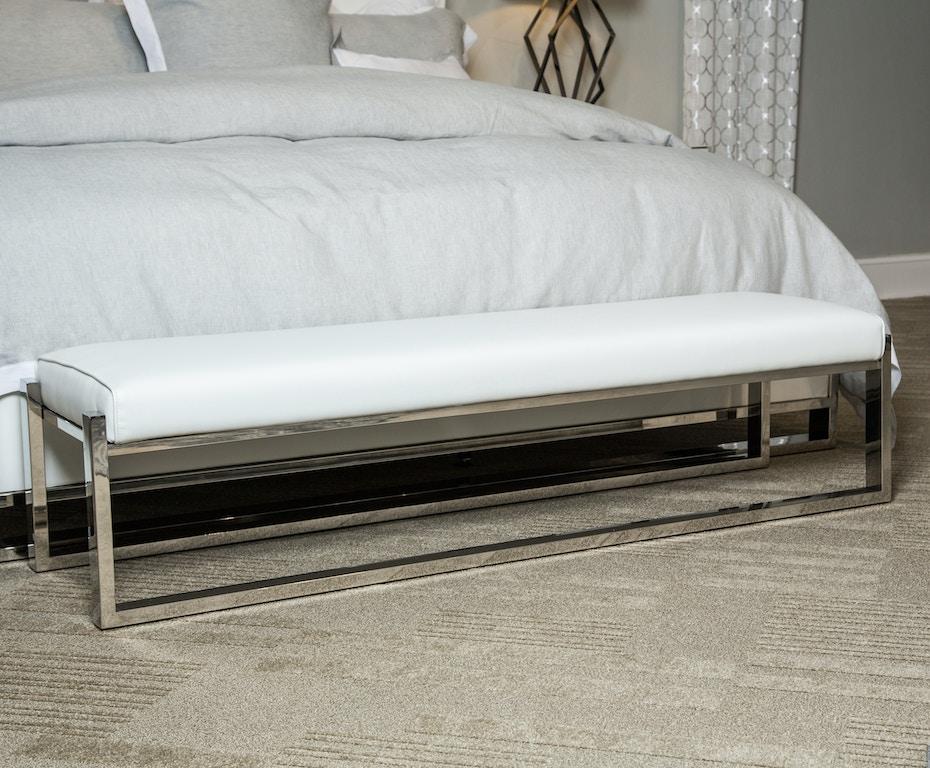 Aico furniture 9018904 13 bedroom halo bed bench stainless - Stainless steel bedroom furniture ...