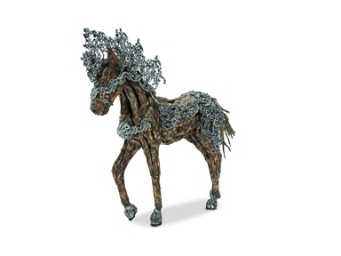 Aico Furniture Wood Crafted Horse with Metal Body Coat, Detailed Scroll Mane ACF-ARF-HORSE-001