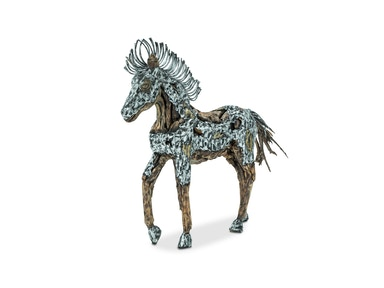 Aico Furniture Trojan Horse with Silver & Gold Metal Body Coat, Straight Mane ACF-ARF-HORSE-002