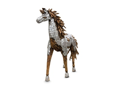 Aico Furniture Wood Crafted Horse with Metal Body Coat & Wood Mane ACF-ARF-HORSE-004