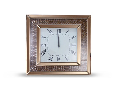 Aico Furniture Montreal Square Clock with Rose Gold Trim FS-MNTRL-5048