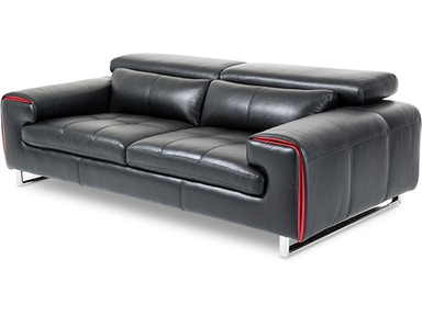 Aico Furniture Magrena Leather Sofa in Black with Red MB-MAGRN15-BLK-13
