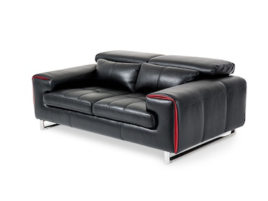 Aico Furniture Magrena Leather Loveseat in Black with Red MB-MAGRN25-BLK-13