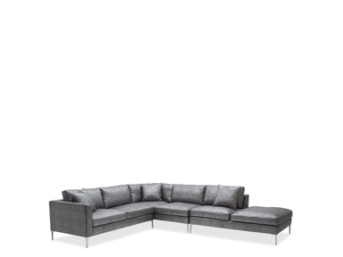 Aico Furniture Aeria 3pc LAF Sectional Loveseat w/Return & RSF Bumper BrushedNickel ST-AERIA-LSC3-GXY-94