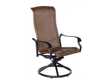 Alfresco Home Naples Hi-Back Wicker Cast Stackable Dining Arm Chair 22-1162-AB