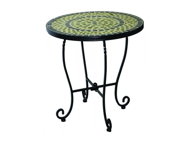 Alfresco Home Shannon 20 Round Side Table with Ceramic Tile Top &Iron Base 28-1172
