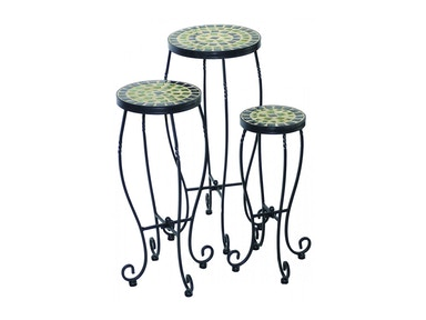Alfresco Home Shannon Round Plant Stands with Ceramic Tile Top & IronBase -S/3 28-1174