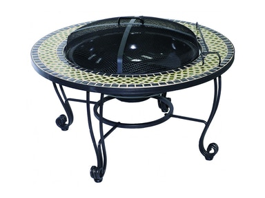 Alfresco Home Shannon 33.5 Rnd Wood FirePit Table with bowl grate domepoker 28-1180