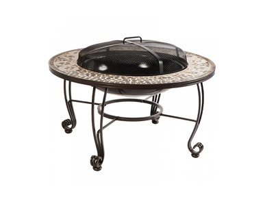 Alfresco Home Vulcano Wood Fire Pit Table with bowl grate dome poker 28-8612