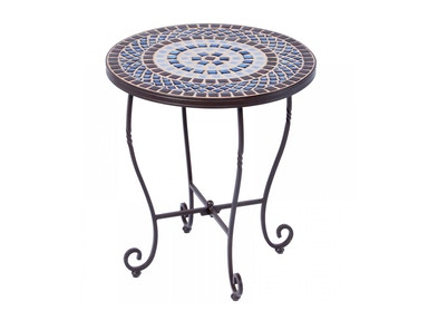 Alfresco Home Tremiti 20 Round Side Table with Ceramic Tile Top &Iron Base 28-9254