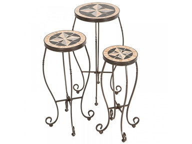 Alfresco Home Formia Round Plant Stands with Ceramic Tile Top & IronBase 28-9270