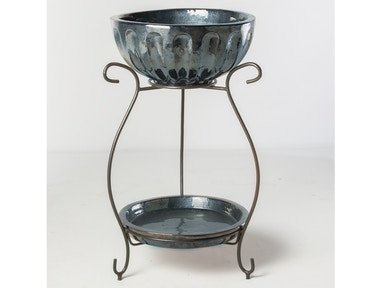 Alfresco Home Round Beverage Cooler with saucer & iron stand 30-0128