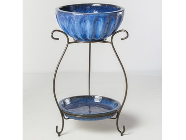 Alfresco Home Round Beverage Cooler with saucer & iron stand 30-0129