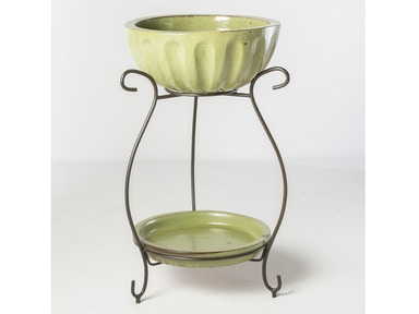 Alfresco Home Square Beverage Cooler with saucer & iron stand 30-0263