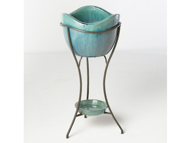 Alfresco Home Olas Beverage Cooler with saucer & iron stand 30-0496