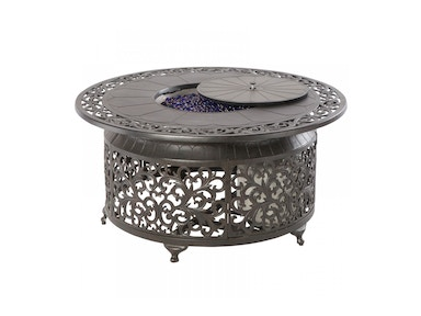 Alfresco Home Bellagio 48 Round Gas Fire Pit Chat Table 55-7219-BK