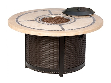 Alfresco Home Modena 48Rnd Stone Gas FirePit Chat Table with burner &remote 58-1155