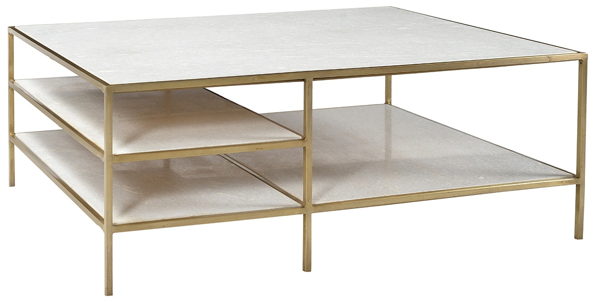 Dovetail Furniture Higgins Coffee Table Brass AR025B