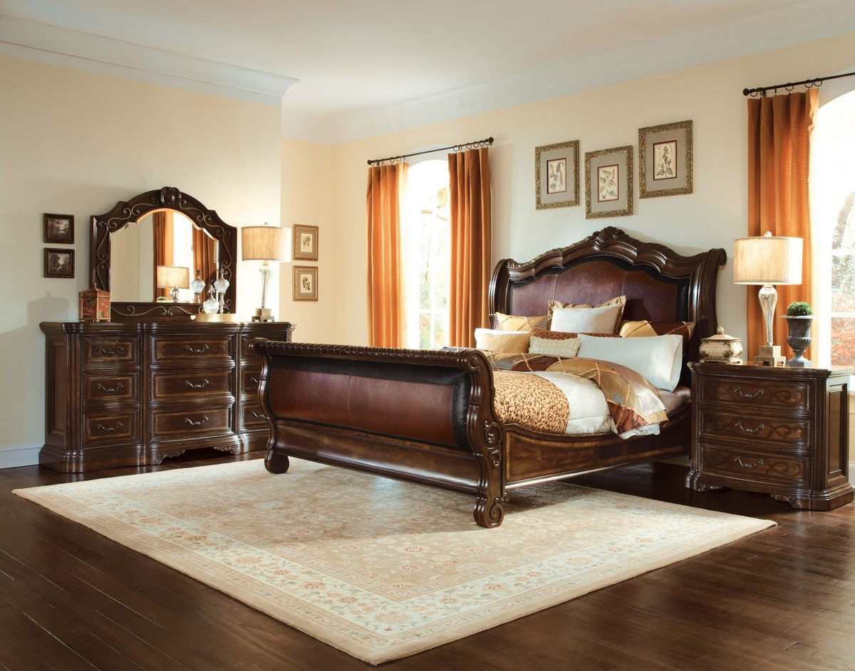 Art Furniture 209147 2304 Bedroom Valencia California King Upholstered Sleigh Bed