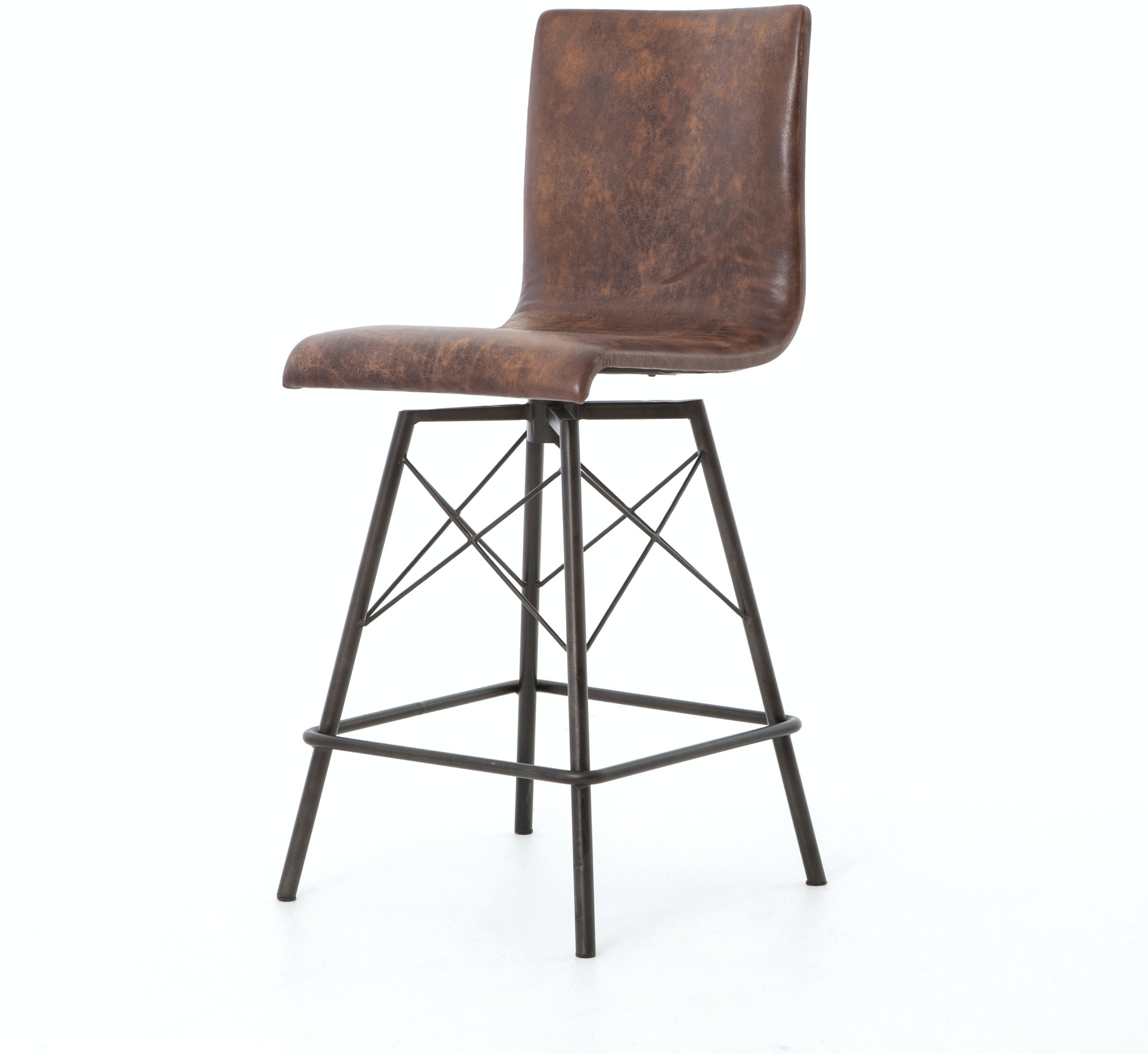 Four Hands Furniture Cird V8 Bar And Game Room Diaw Counter Stool Havana Waxed Black