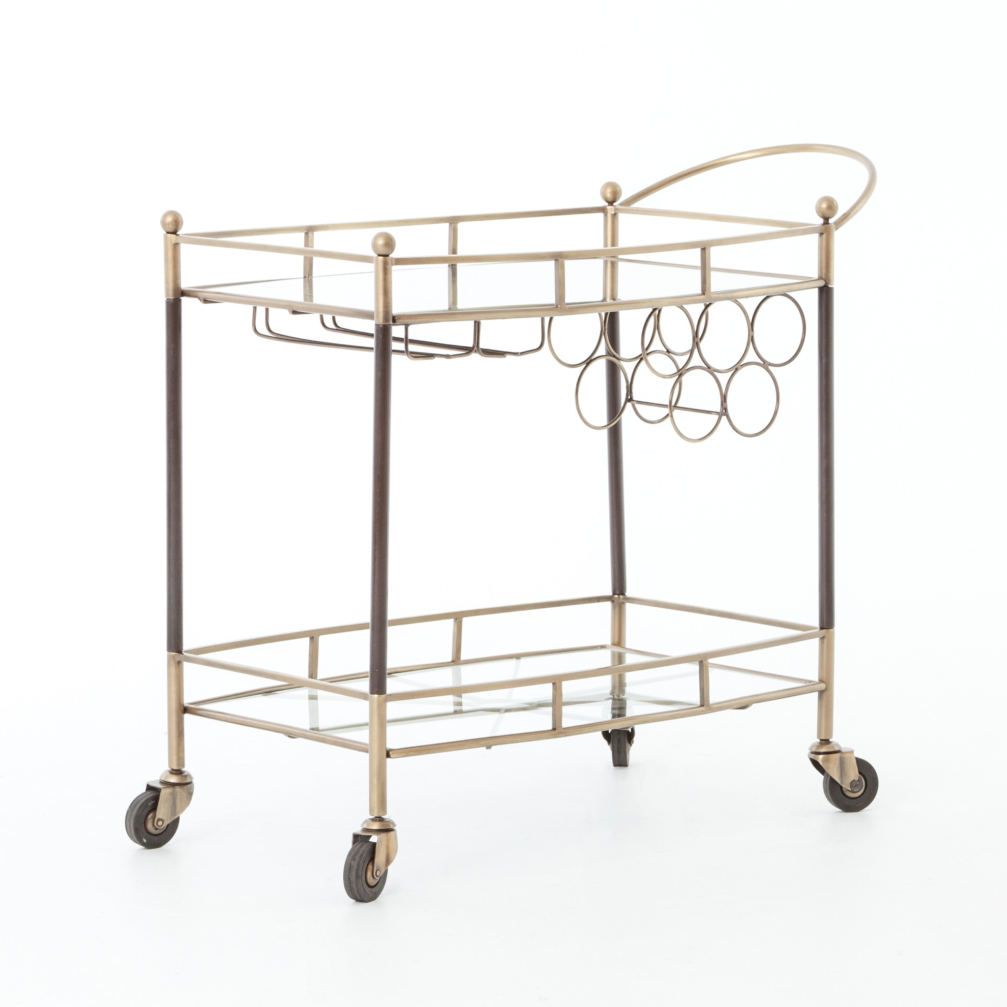 Merveilleux Four Hands Furniture Coles Bar Cart Antique Brass IASR 004KD