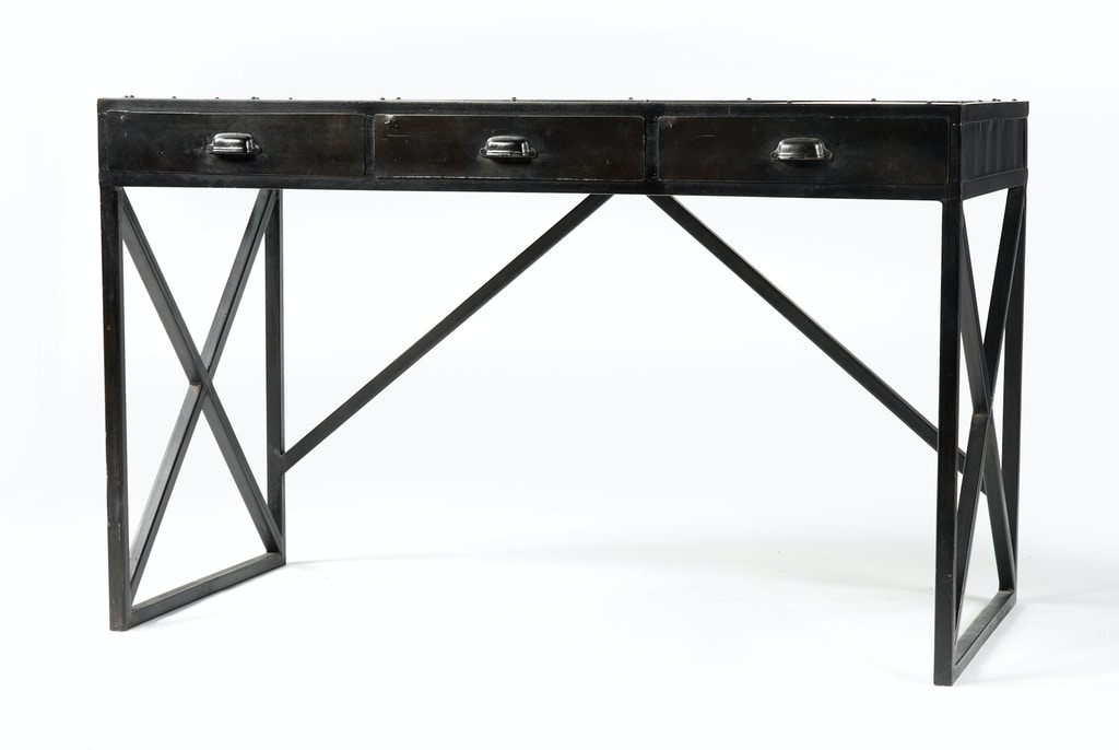 Four Hands Furniture Iron Desk With 3 Drawers-Antique Black IRCK-DK50 - Four Hands Furniture IRCK-DK50 Home Office Iron Desk With 3 Drawers